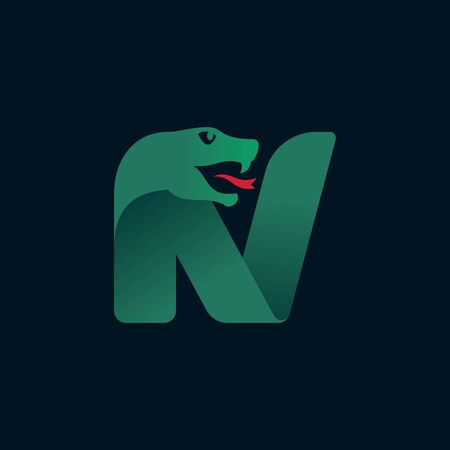 N letter logo with snake head silhouette. Vector font perfect for sport identity, danger posters and exotic company, etc. Logo