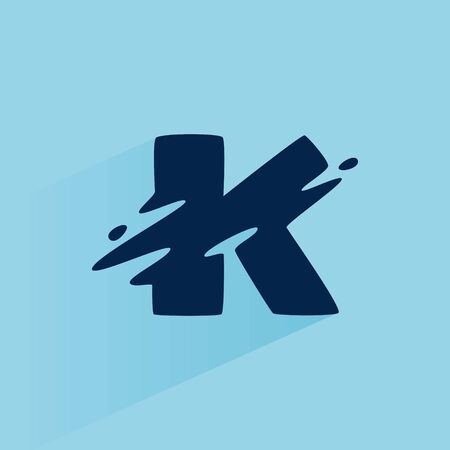 Initial letter K fast speed logo design template. Vector wave line font for sport labels, dynamic headlines, bets posters, etc. 向量圖像