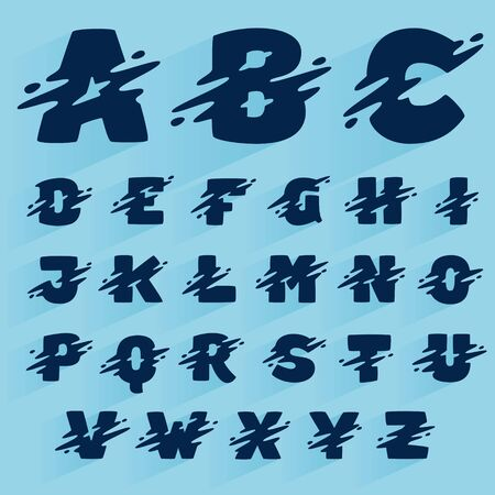 Fast speed alphabet design template. Vector wave line font for sport labels, dynamic headlines, bets posters, etc.