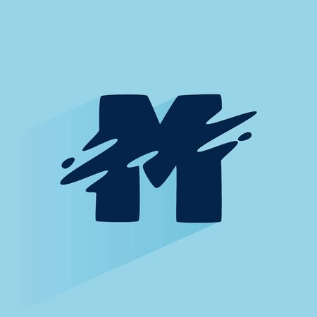 Initial letter M fast speed logo design template. Vector wave line font for sport labels, dynamic headlines, bets posters, etc.