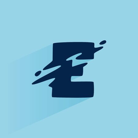 Initial letter E fast speed logo design template. Vector wave line font for sport labels, dynamic headlines, bets posters, etc. 向量圖像