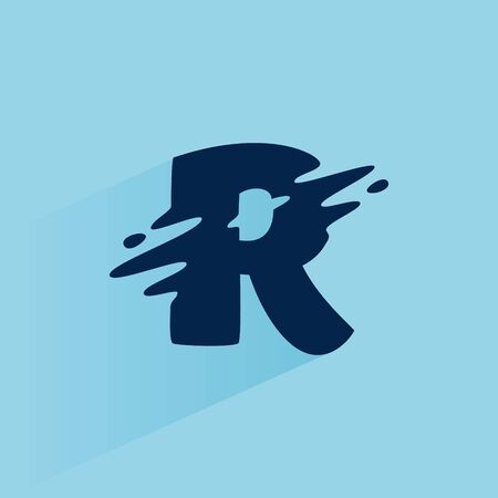 Initial letter R fast speed logo design template. Vector wave line font for sport labels, dynamic headlines, bets posters, etc.