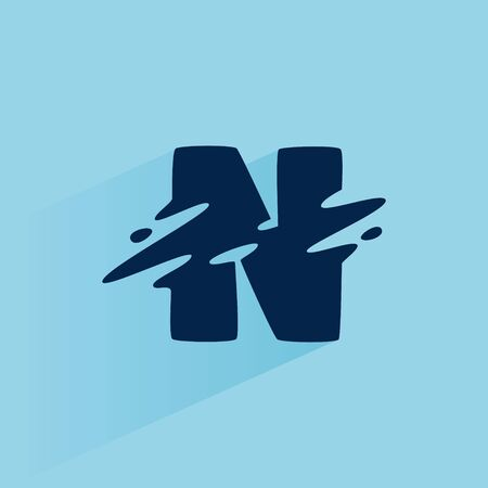 Initial letter N fast speed logo design template. Vector wave line font for sport labels, dynamic headlines, bets posters, etc. 向量圖像