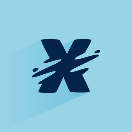 Initial letter X fast speed logo design template. Vector wave line font for sport labels, dynamic headlines, bets posters, etc. 向量圖像