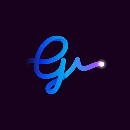 G letter logo with gradient line and flash dot. Perfect font for biotechnology design, heartbeat print, science card etc.