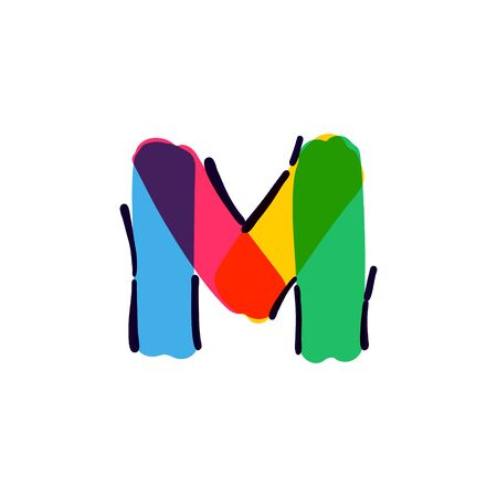 M letter logo handwritten with a multicolor felt-tip pen. Perfect vector icon for kids design, interior print, cute labels, etc. Stock Illustratie