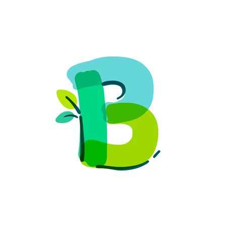 B letter logo with green leaf handwritten with a felt-tip pen. Vector bold marker font can be used for nature labels, summer headlines, bio posters, ecology cards etc.