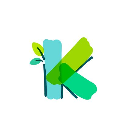 K letter logo with green leaf handwritten with a felt-tip pen. Vector bold marker font can be used for nature labels, summer headlines, bio posters, ecology cards etc.
