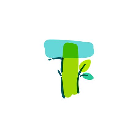T letter logo with green leaf handwritten with a felt-tip pen. Vector bold marker font can be used for nature labels, summer headlines, bio posters, ecology cards etc. Stock Illustratie