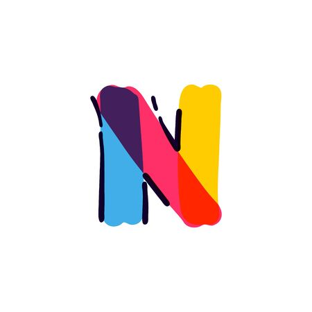 N letter logo handwritten with a multicolor felt-tip pen. Perfect vector icon for kids design, interior print, cute labels, etc. Stock Illustratie