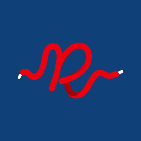 R letter sport logo formed by shoe lace. Vector handwritten script font can be used for workout labels, race headlines, fitness posters, delivery cards etc.