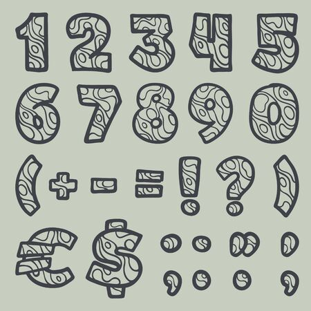 Numbers set and punctuation marks with waves line pattern. Perfect font for water or desert design, landscape print, travel card and ecology concepts, etc.