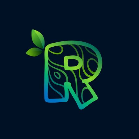 Letter R logo with eco waves pattern. Perfect vector green icon for landscape design, natural print and cartography labels, etc. 向量圖像