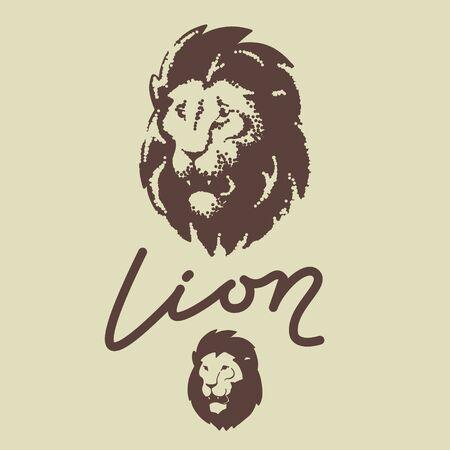 Lion head logo. Dots engraving template vector icon.