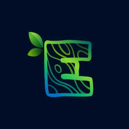 Letter E logo with eco waves pattern. Perfect vector green icon for landscape design, natural print and cartography labels, etc. 向量圖像