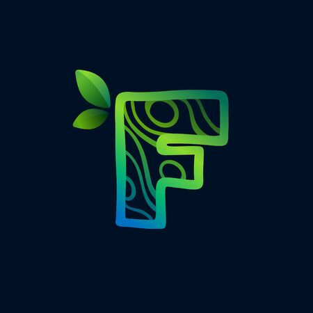 Letter F logo with eco waves pattern. Perfect vector green icon for landscape design, natural print and cartography labels, etc. 向量圖像