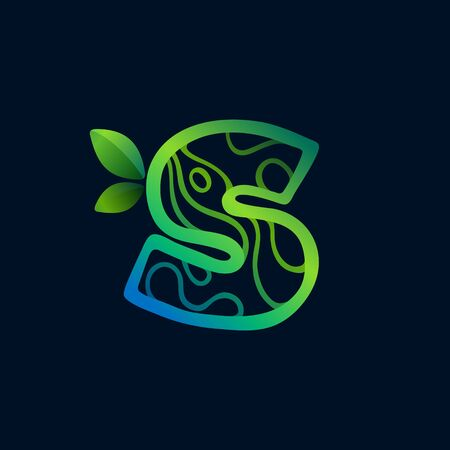 Letter S logo with eco waves pattern. Perfect vector green icon for landscape design, natural print and cartography labels, etc.