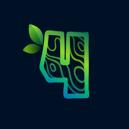 Number four logo with eco waves pattern. Perfect vector green icon for landscape design, natural print and cartography labels, etc.