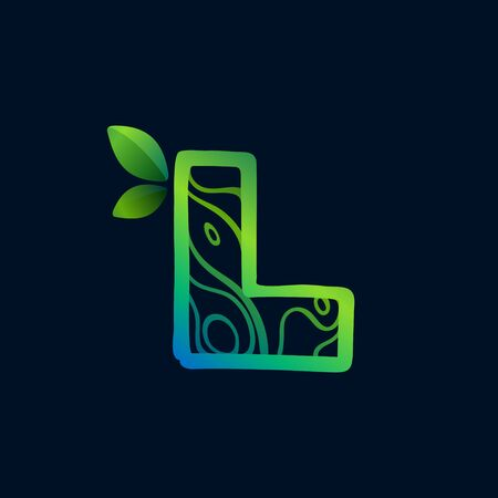 Letter L logo with eco waves pattern. Perfect vector green icon for landscape design, natural print and cartography labels, etc. 向量圖像