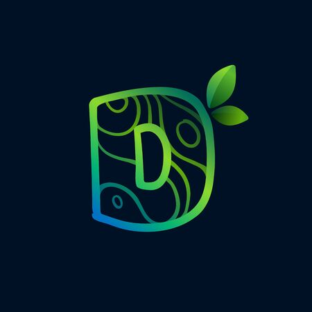 Letter D logo with eco waves pattern. Perfect vector green icon for landscape design, natural print and cartography labels, etc.