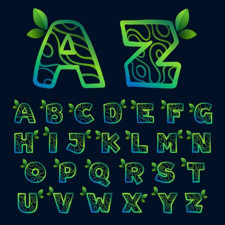 Alphabet with eco waves pattern. Perfect vector green icon for landscape design, natural print and cartography labels, etc.
