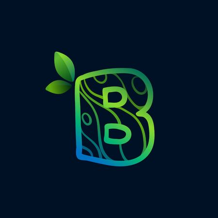 Letter B logo with eco waves pattern. Perfect vector green icon for landscape design, natural print and cartography labels, etc.