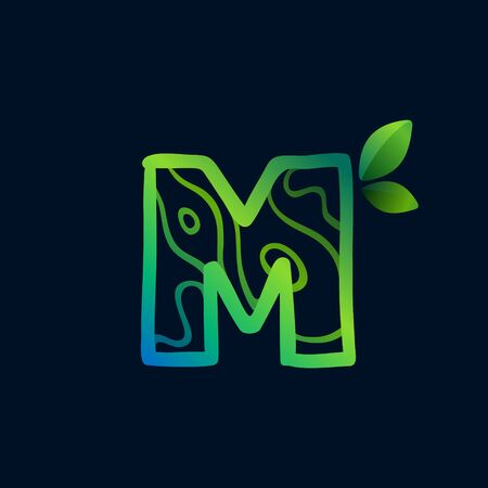 Letter M logo with eco waves pattern. Perfect vector green icon for landscape design, natural print and cartography labels, etc.