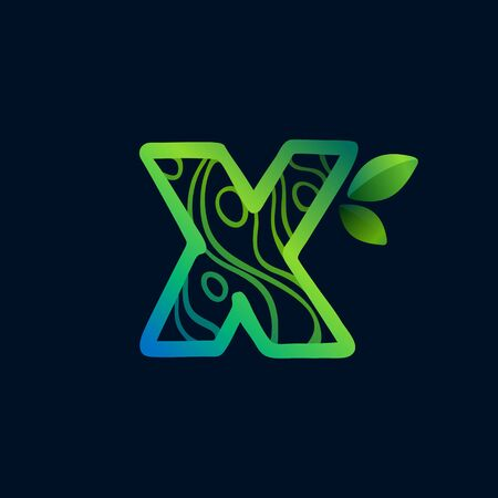 Letter X logo with eco waves pattern. Perfect vector green icon for landscape design, natural print and cartography labels, etc.