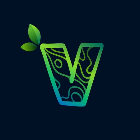 Letter V logo with eco waves pattern. Perfect vector green icon for landscape design, natural print and cartography labels, etc.