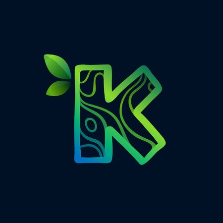 Letter K logo with eco waves pattern. Perfect vector green icon for landscape design, natural print and cartography labels, etc.