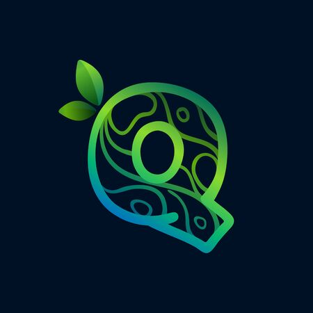 Letter Q logo with eco waves pattern. Perfect vector green icon for landscape design, natural print and cartography labels, etc.