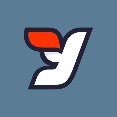 Fast speed Y letter logo. Vector sport style typeface for athletic labels, technology titles, game posters or sportswear transfers.