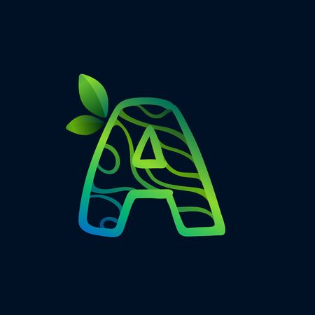 Letter A logo with eco waves pattern. Perfect vector green icon for landscape design, natural print and cartography labels, etc.