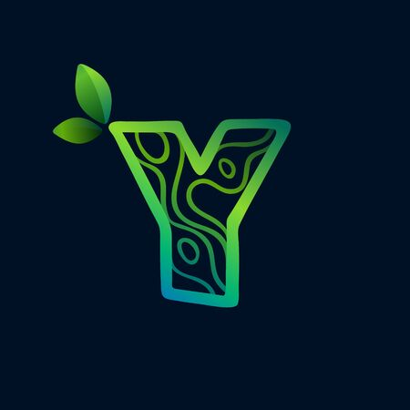 Letter Y logo with eco waves pattern. Perfect vector green icon for landscape design, natural print and cartography labels, etc.