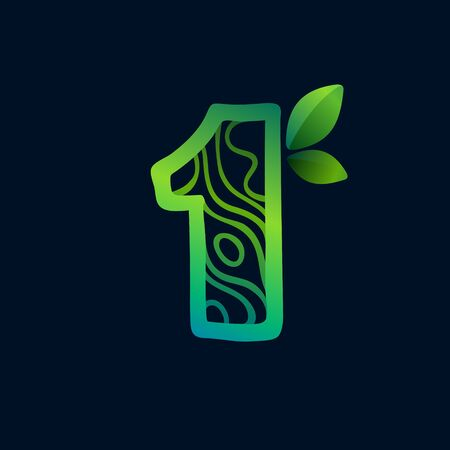 Number one logo with eco waves pattern. Perfect vector green icon for landscape design, natural print and cartography labels, etc.