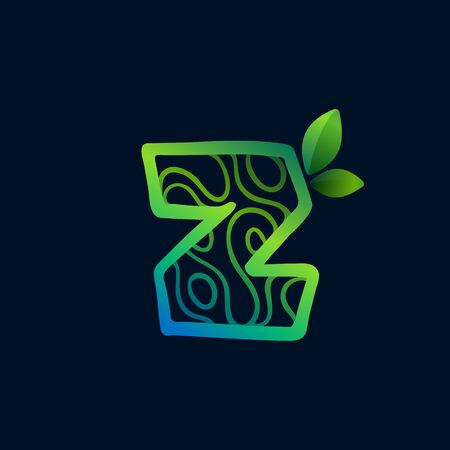 Letter Z logo with eco waves pattern. Perfect vector green icon for landscape design, natural print and cartography labels, etc.