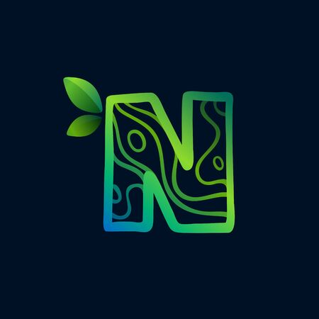 Letter N logo with eco waves pattern. Perfect vector green icon for landscape design, natural print and cartography labels, etc.