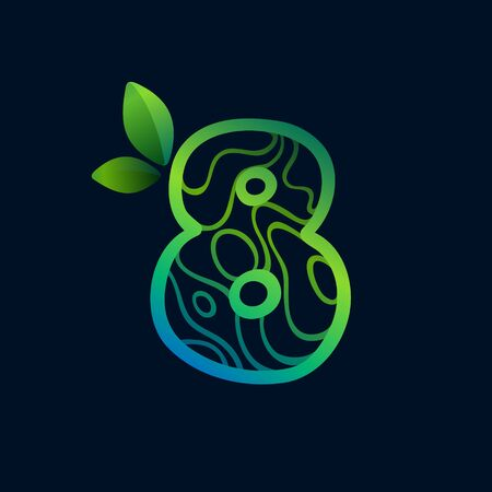 Number eight logo with eco waves pattern. Perfect vector green icon for landscape design, natural print and cartography labels, etc. 向量圖像
