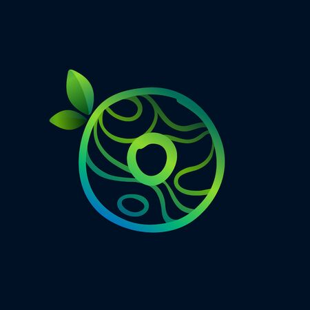 Letter O logo with eco waves pattern. Perfect vector green icon for landscape design, natural print and cartography labels, etc.