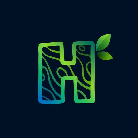 Letter H logo with eco waves pattern. Perfect vector green icon for landscape design, natural print and cartography labels, etc.