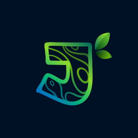 Letter J logo with eco waves pattern. Perfect vector green icon for landscape design, natural print and cartography labels, etc. 向量圖像