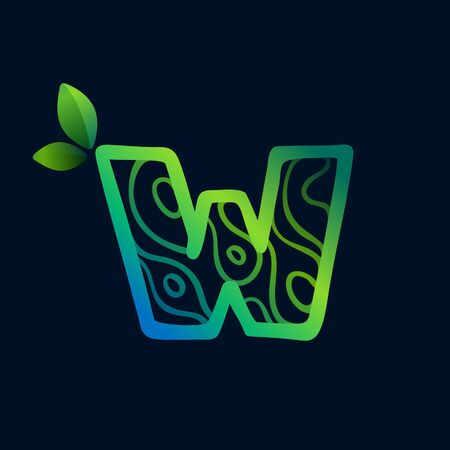 Letter W logo with eco waves pattern. Perfect vector green icon for landscape design, natural print and cartography labels, etc.