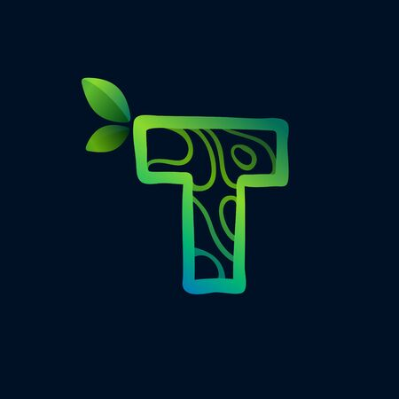 Letter T logo with eco waves pattern. Perfect vector green icon for landscape design, natural print and cartography labels, etc. 向量圖像