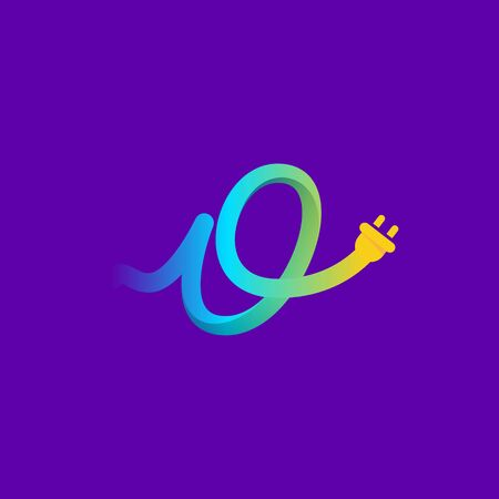 O letter logo with curl cable and plug adapter. Vector typeface for energy labels, wire headlines, power posters, electric company identity, etc.