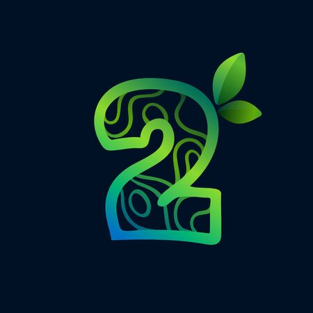 Number two logo with eco waves pattern. Perfect vector green icon for landscape design, natural print and cartography labels, etc.