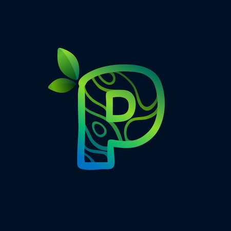 Letter P logo with eco waves pattern. Perfect vector green icon for landscape design, natural print and cartography labels, etc. 向量圖像