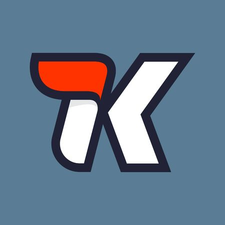Fast speed K letter logo. Vector sport style typeface for athletic labels, technology titles, game posters or sportswear transfers.