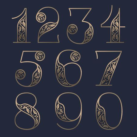 Vintage numbers set with premium decoration. Classic line serif font. Vector icon perfect to use in any alcohol labels, glamour posters, luxury identity, etc.