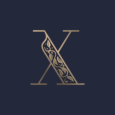 Vintage X letter logo with premium decoration. Classic line serif font. Vector icon perfect to use in any alcohol labels, glamour posters, luxury identity, etc.
