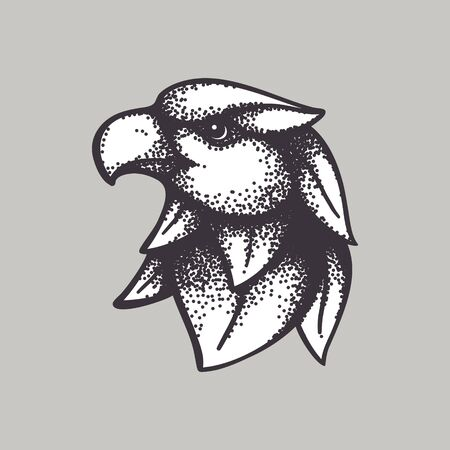 Eagle head mascot vector logo. Animal design for sport team branding, powerful print, heraldic label, beast badge, card or illustration.